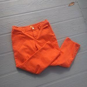 Tory Burch orange cropped jeans 31